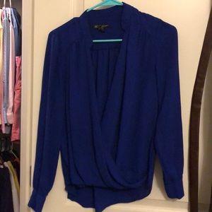 Purple wrap style dress shirt